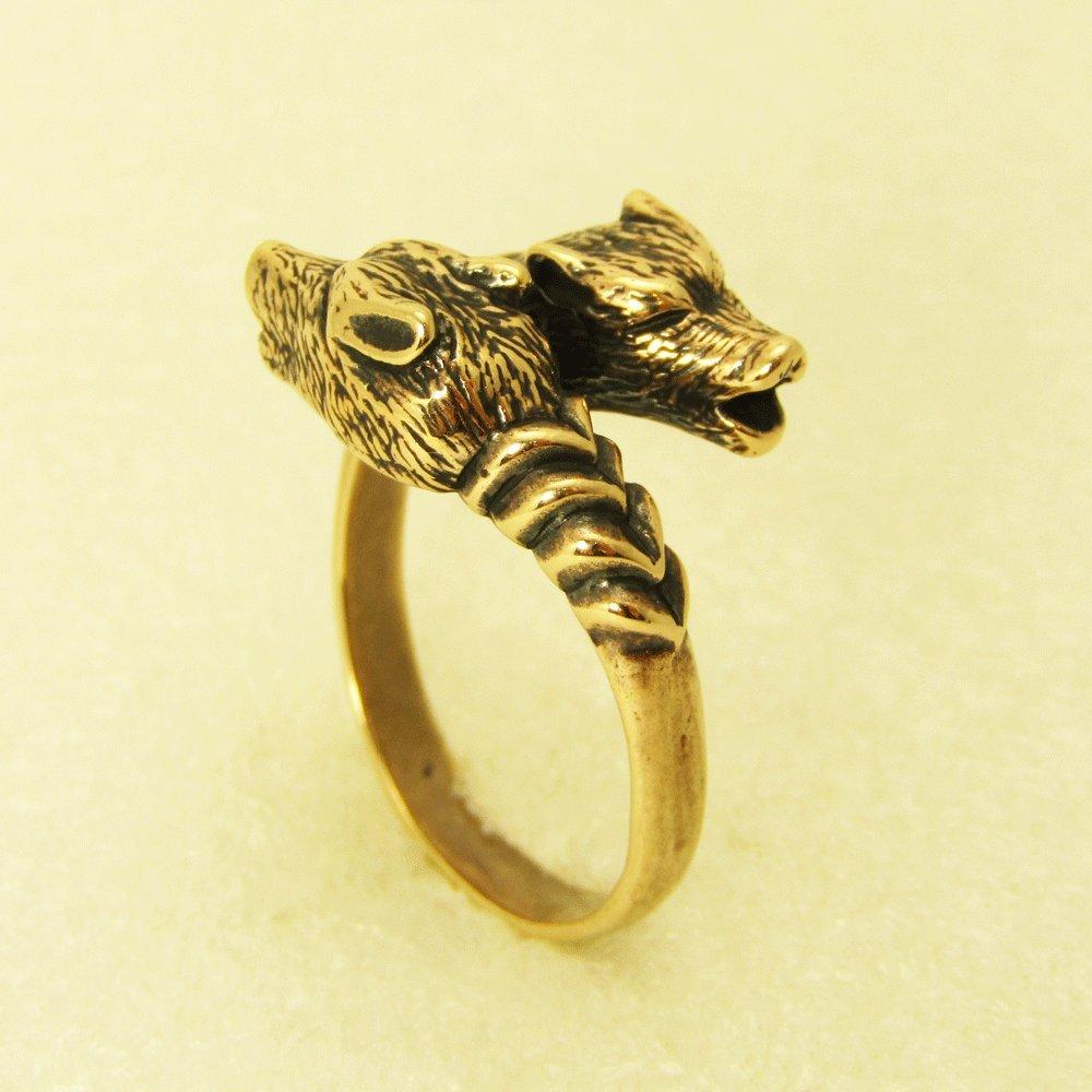 Men's Bronze Two Wolf Heads Ring Animal Ring Men