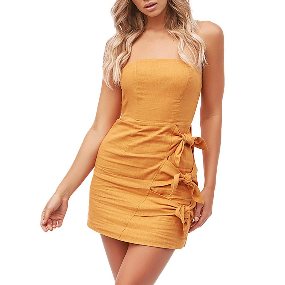 Women Casual Plus Size Dress Solid Strapless Bandage Bow Backless Sleeveless Loose Dresses (M, Yellow)