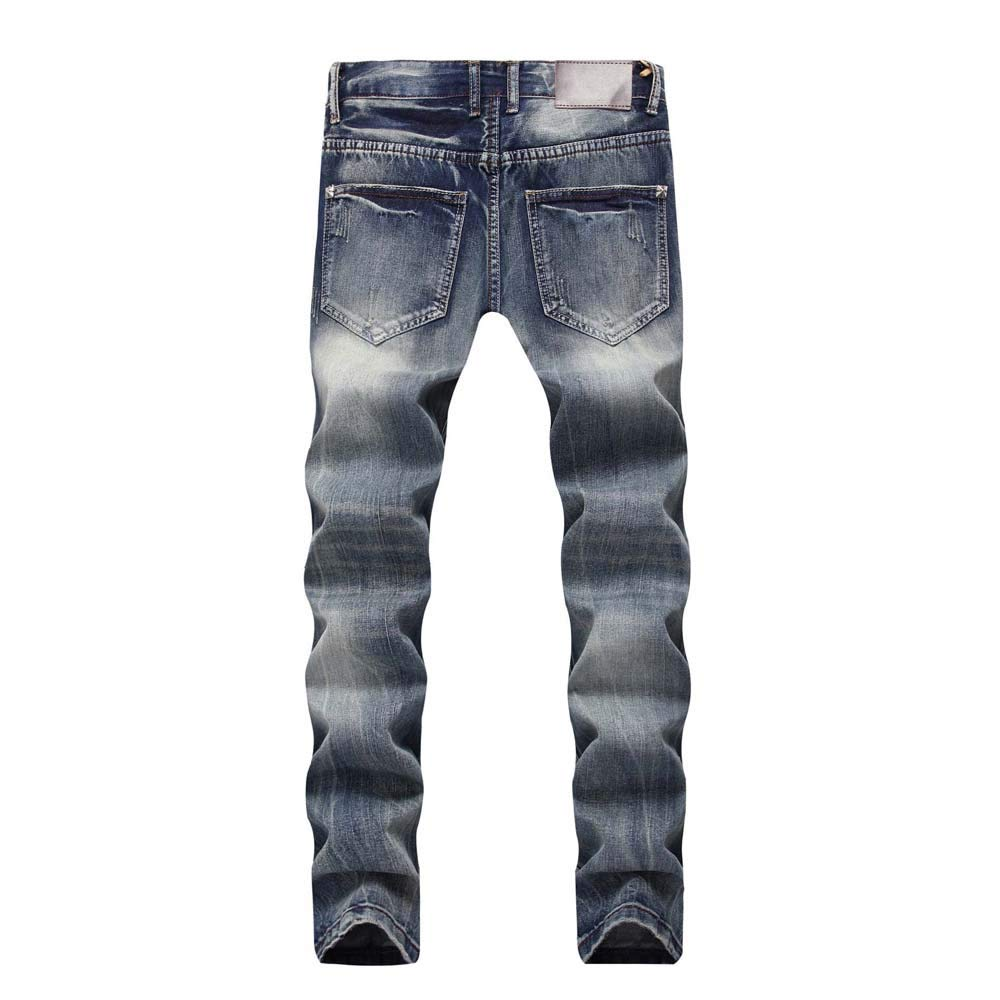 LEERYAAY Cargo/&Chinos Mens Casual Autumn Denim Cotton Straight Ripped Hole Trousers Jeans Pants