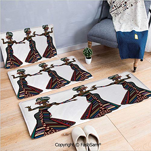 3 Piece Flannel Bath Carpet Non Slip Young Women in Stylish Native Costumes Carnival Festival Theme Dance Moves Decorative Front Door Mats Rugs for Home(W15.7xL23.6 by W19.6xL31.5 by ()