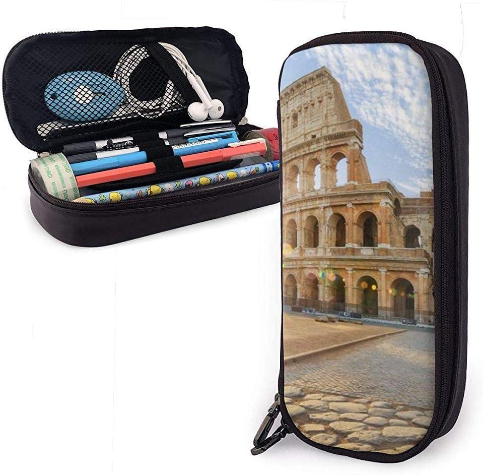 Estuche de lápices Vintage Roman Landmark Bolso de cuero de PU Bolsas de almacenamiento Bolso de lápiz portátil Carteras con cremallera