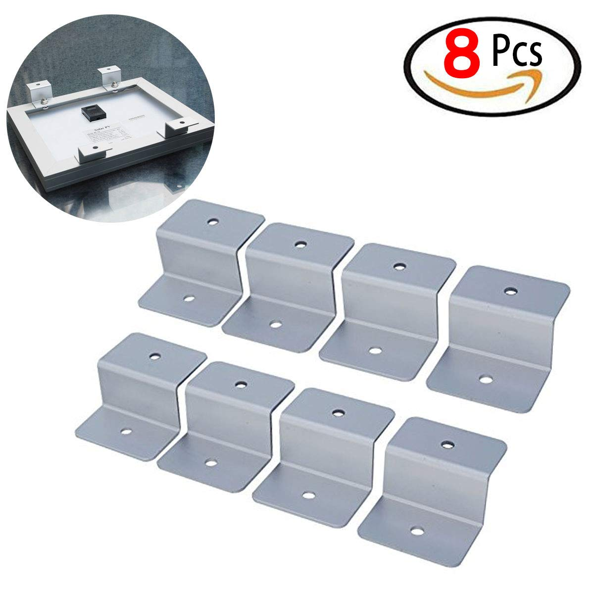8 Pcs - Solar Panel Mount Mounting Z Bracket, Heavy Duty Solar Panel Brackets Mount Mounting with Nuts and Bolts, Solar Panel Accessory for Boat, Roof, Wall and other off Gird Installation