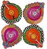 Art with Emphasis Traditional Pear Shaped Terracotta Diya with Wick ( Set of 4)