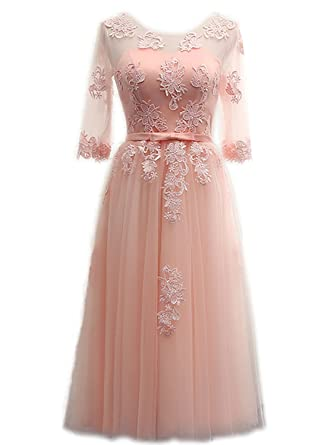 IHouse Juniors Prom Homecoming Dresses for Semi Formal Tea Length Rose Pink  Size 0 f3d40e57ded9