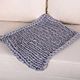 Product review for Chunky Knit Blanket Baby Blanket,Super Chunky Blanket,Giant Knit Blanket,Thick Yarn Blanket,Bulky Knit Throw Blanket Christmas Birthday Gift (18x18inch, Dark Grey)