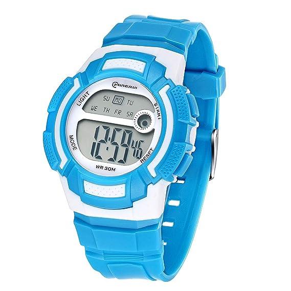 Reloj Digital Juvenil, para niñas, Resistente al Agua, Reloj Deportivo Digital (Azul