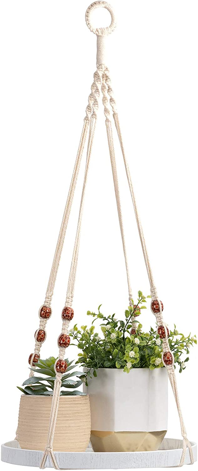 TIMEYARD Macrame Plant Hanger - Indoor Hanging Planter Shelf - Decorative Flower Pot Holder - Boho Bohemian Home Decor, in Box, for Succulents, Cacti, Herbs, Small Plants, White