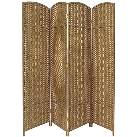 Oriental Furniture 7 ft. Tall Diamond Weave Room Divider - Natural - 4 Panels (Wide Room Divider)