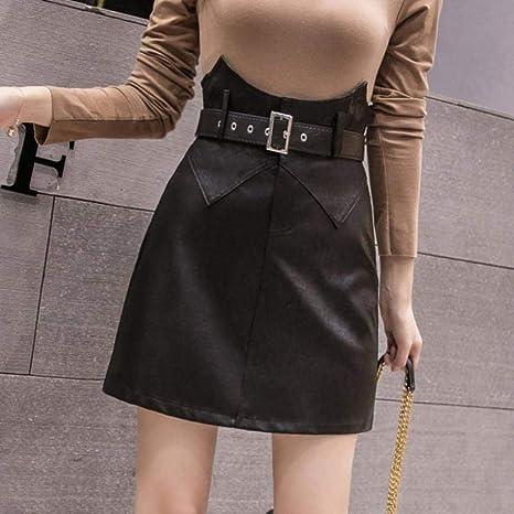 HSDFKD Invierno Mujer Mini Faldas Cinturón Inferior Damas Sólido ...