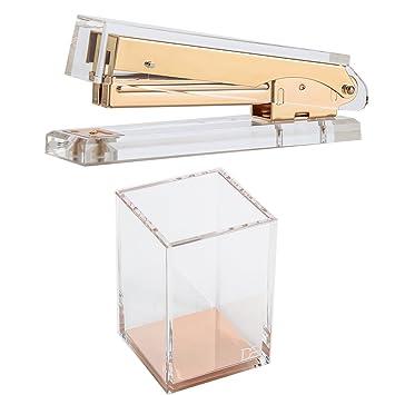 Attractive Draymond Story Acrylic Office Supplies Bundle 1)Stapler 1) Pencil Holder  (Desktop Stationery
