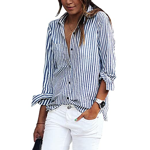 4042f16649 Image Unavailable. Image not available for. Color: Blouse Womens Vertical  Striped Long Sleeve Button Pocket Casual T Shirts Tops