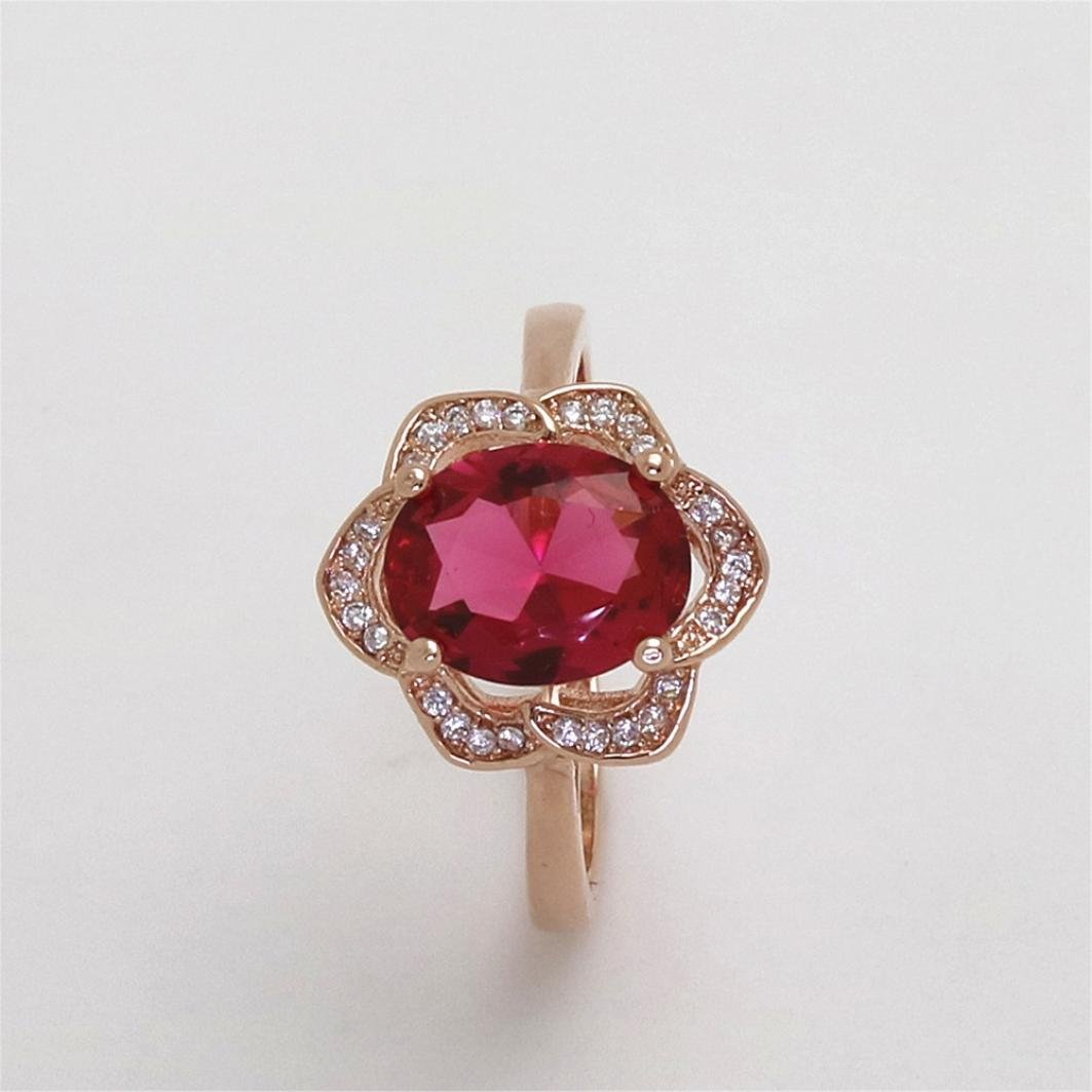 SMALLE◕‿◕ Clearance,Flower Crystal Wedding Ring for Women Jewelry Accessories Rose Gold Gold Engagem by SMALLE◕‿◕ (Image #4)