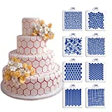 ART Kitchenware New 8pcs/set Wedding Cake Decorating Stencil Honeycomb Grain,Stone Grain Plastic Template Design Fondant Cake Cookies Stencil ST-830 Beige/Semi-Transparent