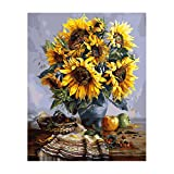 NeoConcept DIY Oil Painting, Adults' Paint by Number Kits, Acrylic Painting - Sunflower 16 by 20''