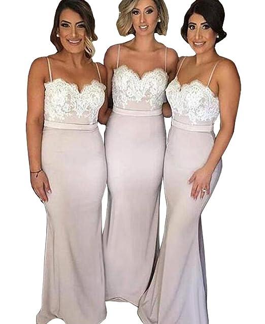 Dys Women S Blush Lace Mermaid Bridesmaid Dresses Long