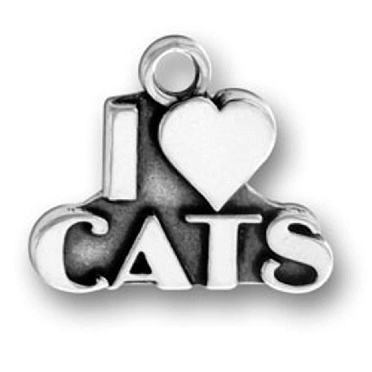 Sterling Silver 30'' Men's 1.5mm Box Chain I Love Cats Word Message Animal Pendant Necklace