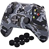 YoRHa Water Transfer Printing Camouflage Silicone Cover Skin Case for Microsoft Xbox One X & Xbox One S Controller x 1(Snow)