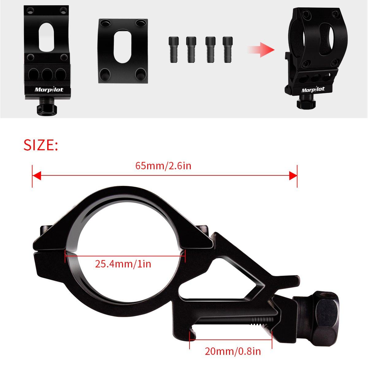 Morpilot Tactical Flashlight Offset Mount Offset Ring Best for Picatinny Weaver Rail, 5 Modes 400LM Handheld Flashlight, Black