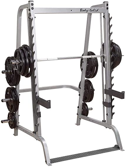 Amazon.com: Body Solid gs348q Series 7 Linear Bearing Smith con 7-degree  Reverse Pitch Design anad 6 Plato de peso olímpico Almacenamiento: Sports &  Outdoors