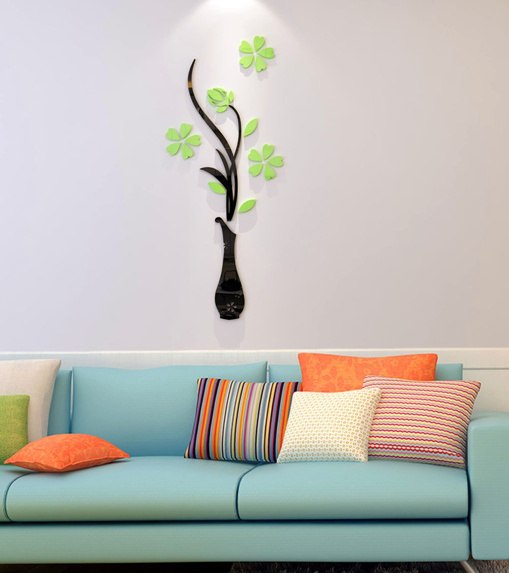Aqua, 30 X 12 inches 3d Vase Wall Murals for Living Room Bedroom Sofa Backdrop Tv Wall Background Originality Stickers Gift DIY Wall Decal Wall Decor Wall Decorations