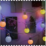 "BRIGHT ZEAL 7.5' LED Pastel Globe String Lights Battery Operated Ball Lights with Timer (TEN 2"" Bulbs: 3 Blue, 3 Green, 4 Pink) - Hanging Outdoor Indoor String Lights for Patio Yard Garden Party Decor"