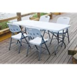Vinsani 6FT Heavy Duty Plastic & Folding Table Outdoor Garden Trestle Banquet Party BBQ - White (CHAIRS ARE NOT INCLUDED)