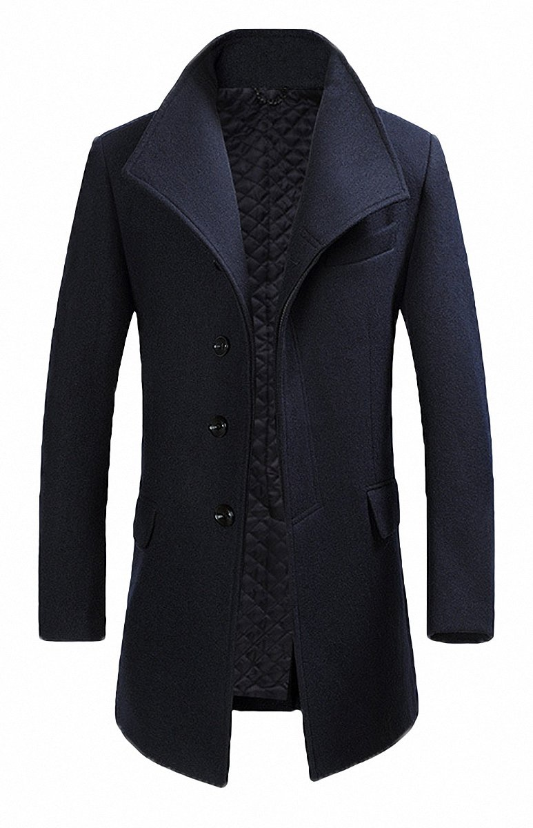 FASHINTY Men's Classical France Style Business Formal Worm Wool Coat #00001F Navy M by FASHINTY