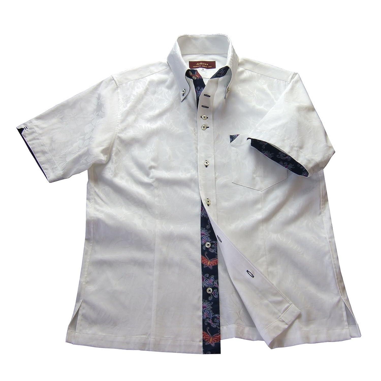 かりゆしウェア結婚式に 沖縄 アロハ 半袖 ボタンダウンシャツ メンズ 紅型 ハイビスカス 白 mshi-wt03-4818 B01NC32JQR L