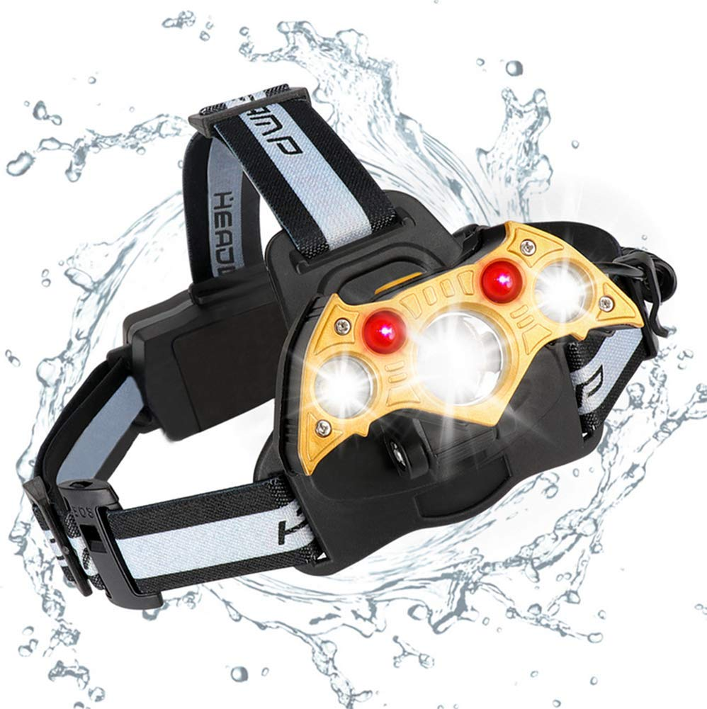 3LED New LED Strong Headlight Waterproof USB Charging Outdoor Searchlight Red Light Fishing Lamp Miner's Lamp Wearing Lamp