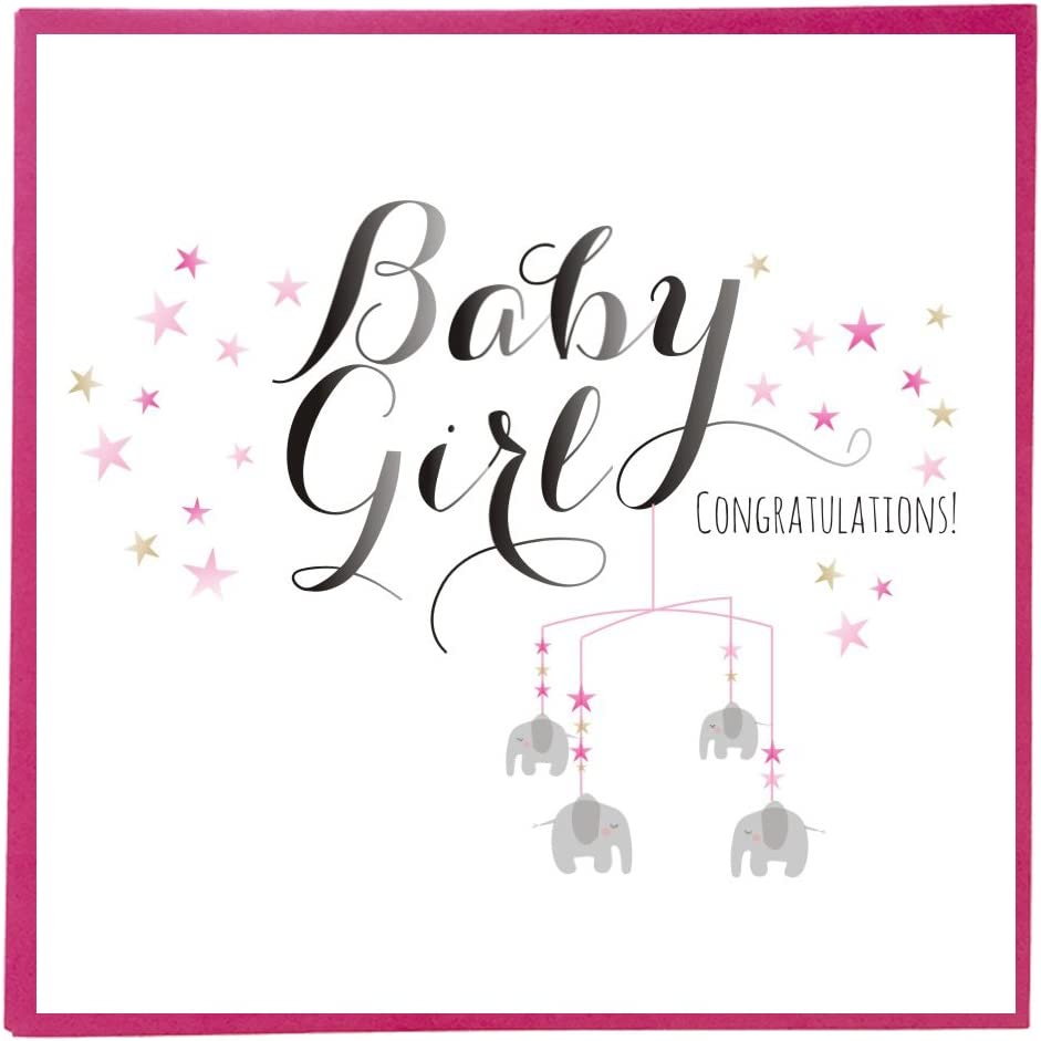 Claire Giles Quill Baby Girl Greeting Card