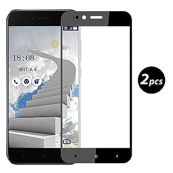 EUGO [2-Unidades] Xiaomi Mi A1/Xiaomi Mi 5X Protector de Pantalla, Alta Definicion No Hay Burbujas Vidrio Templado HD Film Protector de Pantalla Screen Protector Cobertura Completa Negro: Amazon.es: Electrónica