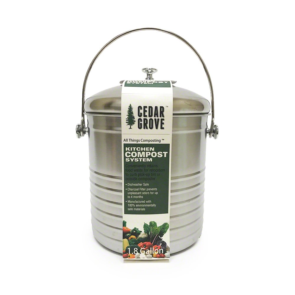 Amazon.com: Stainless Steel Kitchen Compost Bin 1.8 Gallon, with ...