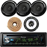 Pioneer DEH-X6900BT Car CD Player Receiver Bluetooth USB AUX Radio - Bundle Combo With 4x Kenwood KFC1665S 6.5 2-Way Black Car Coaxial Audio Speakers + Enrock 50 Ft 18 Gauge Speaker Wire
