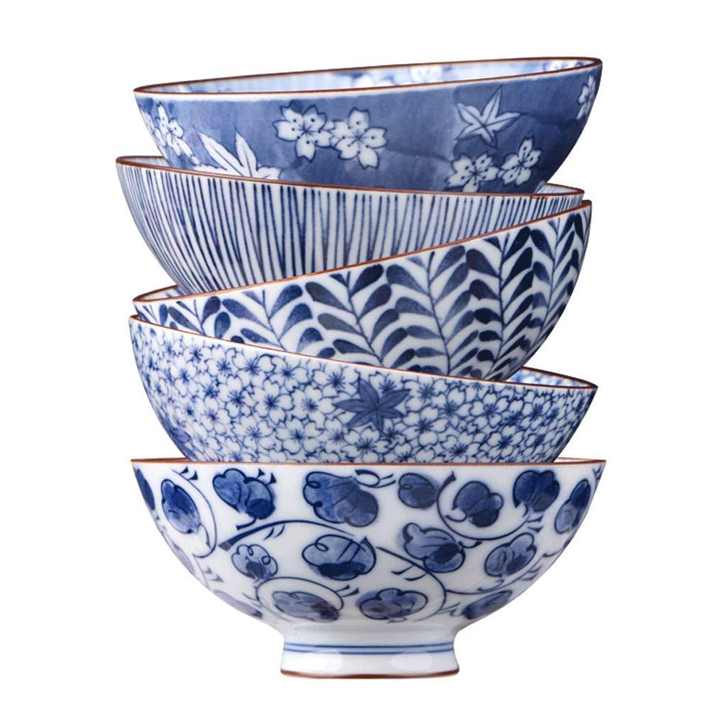 セラミックボウル焼く家庭用和風スタイルと風の食器用ライスボウル麺ボウル青と白の磁器のボウルセット (サイズ さいず : 4.5 inches) B07J5W29KT   4.5 inches