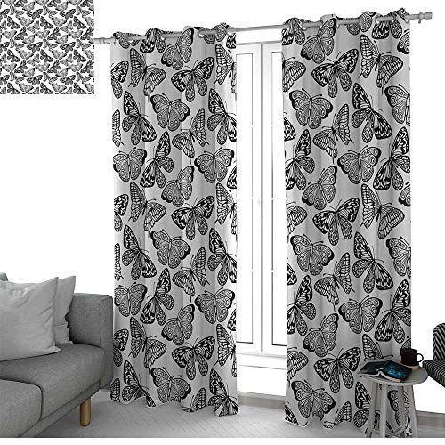(NUOMANAN Kitchen Curtains Black and White,Monochrome Assortment of Butterflies Schaus Swallowtails and Birdwings,Black White,Rod Pocket Drapes Thermal Insulated Panels Home décor 100