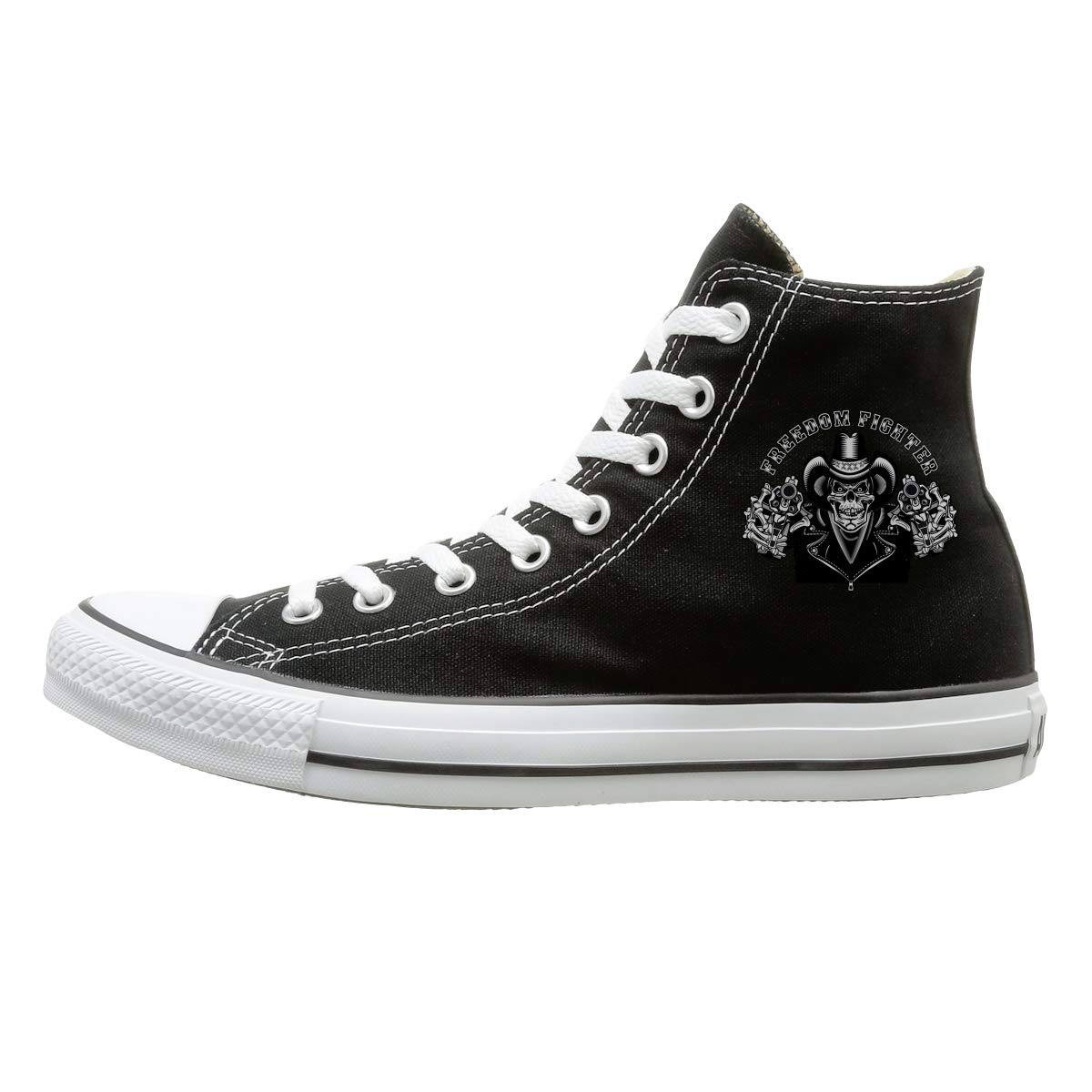 Unisex High Top Stylish Sneakers Cowboy Skull And Revolver Lace Up Canvas Shoes