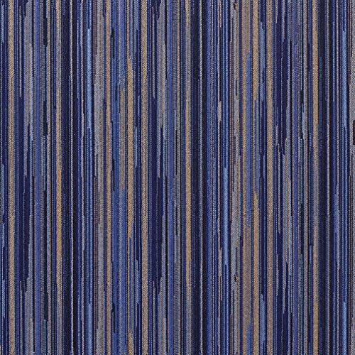 E226 Navy Blue and Gold Abstract Striped Residential and Contract Grade Upholstery Fabric by The Yard
