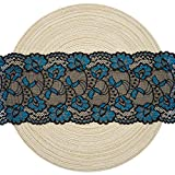 Black and Blue Floral Stretchy Lace Elastic Trim