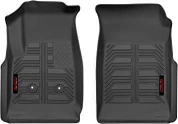 2-Piece Black Front Floor Liners that fit 2015-2020 GMC Canyon Extended Cab