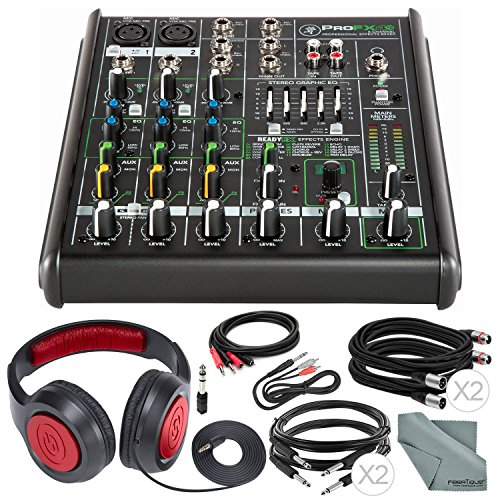 Mackie PROFX4V2 4-Channel Compact Mixer with Built-In Effects and Deluxe Bundle with Professional Closed-Back Headphones, Fibertique Cloth, and 6x Cables