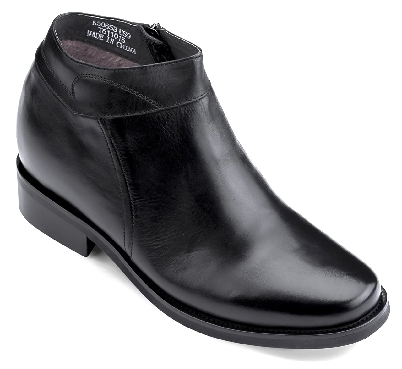 CALDEN - K50658 - 3.2 Inches Taller - Height Increasing Elevator Shoes (Black Dress Boots)