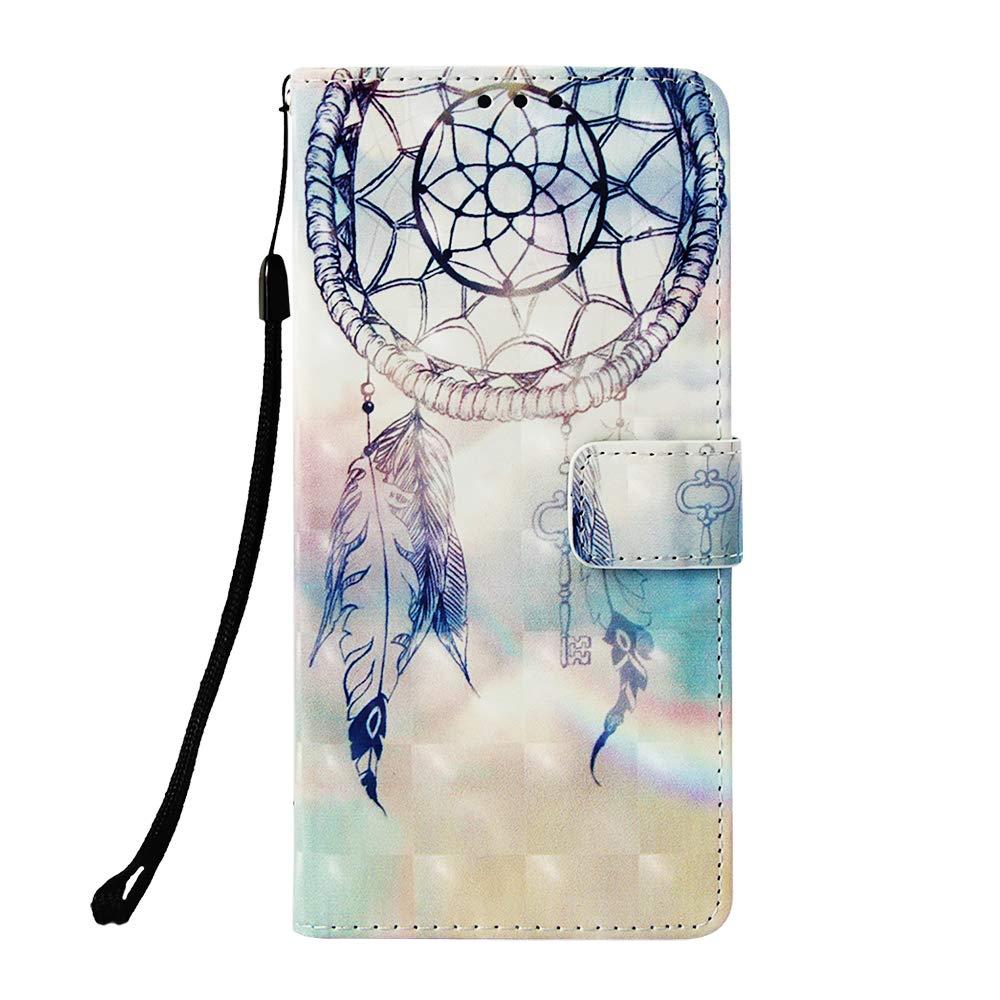 JCTek Huawei Mate 20 Pro Hülle, Handyhülle für Mate 20 Pro, Premium Leder Flip Schutzhülle Tasche, Schutzhülle Brieftasche Etui mit Kartenfach und Ständer für Huawei Mate 20 Pro (Fantasy Windspiele)