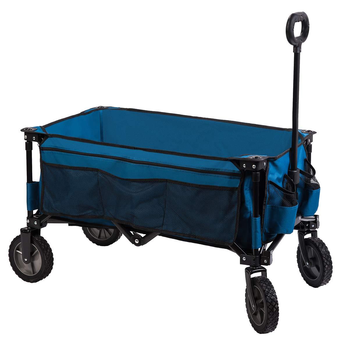 Timber Ridge Camping Wagon Folding Garden Cart Collapsible Utility Shopping Trolley, Side Bag, Blue TR217270BEB