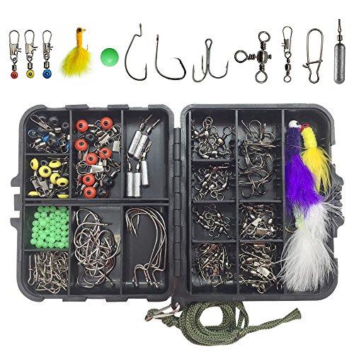 RG 184pcs/box Fishing Accessories Tackle Box Kit,Including Jig/Circle/Treble Hooks,Skinny Lead Drop Shot Weights,Sinker Slides,Crappie Jigs,Glow Fishing Line Beads, Different Fishing Swivel Snaps ()