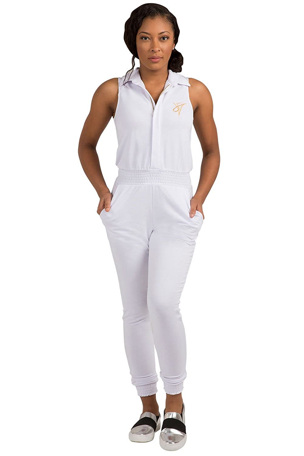 89f91be2c40 Amazon.com  Poetic Justice Curvy Women s White Sleeveless Stretch Collared  Jumpsuit  Clothing