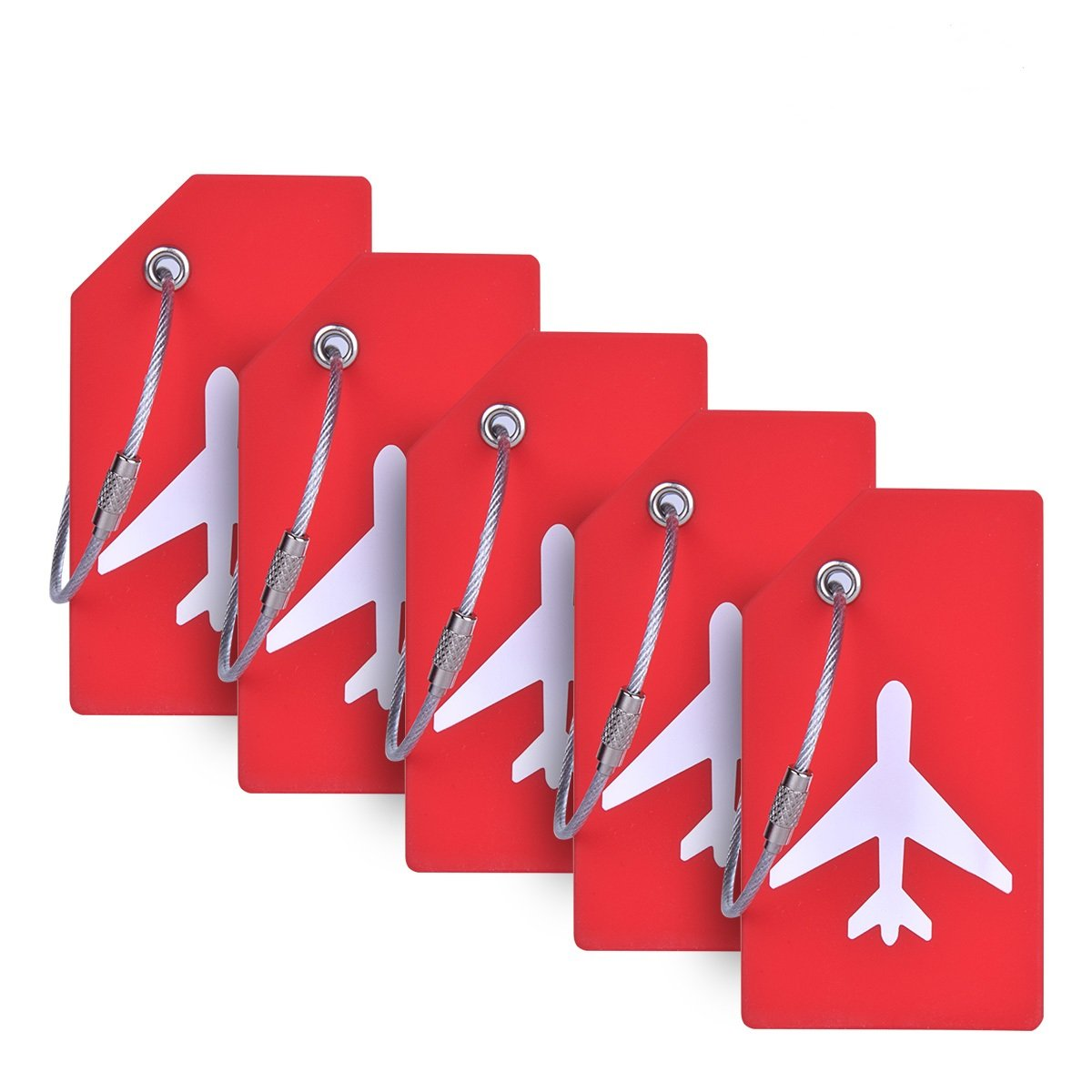 Silicone Luggage Tag With Name ID Card Perfect to Quickly Spot Luggage Suitcase (Plane 5Pcs Orange) Ovener