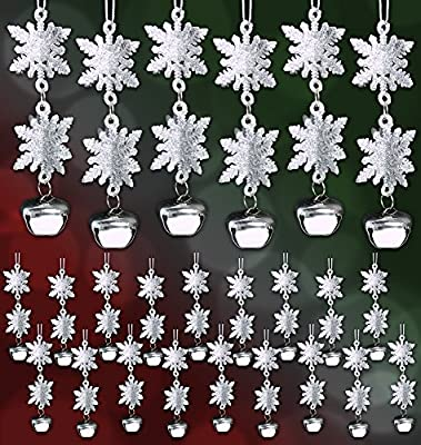 Snowflake Christmas Ornaments with Bells Winter Wedding Favor Birthday Party Theme Decoration for Girls - Silver Glitter - 4.25 Inch