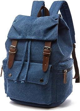 Oferta amazon: Rufun Mochila de Lona Vintage para portátiles Mochilas de Viaje Bolsa de Gran Capacidad Unisex (Azul)
