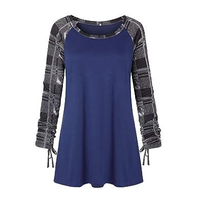 77ba73a18f2 Yvelands T-Shirt Soldes Femme Treillis Couture Top Couleur De Contraste  Pullover Col Rond Chemise