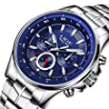 Watches,Mens Watches,Mens's Luxury Stainless Steel Waterproof Wrist Watches, Multifuntional Fashion Casual Dress Quartz Watches
